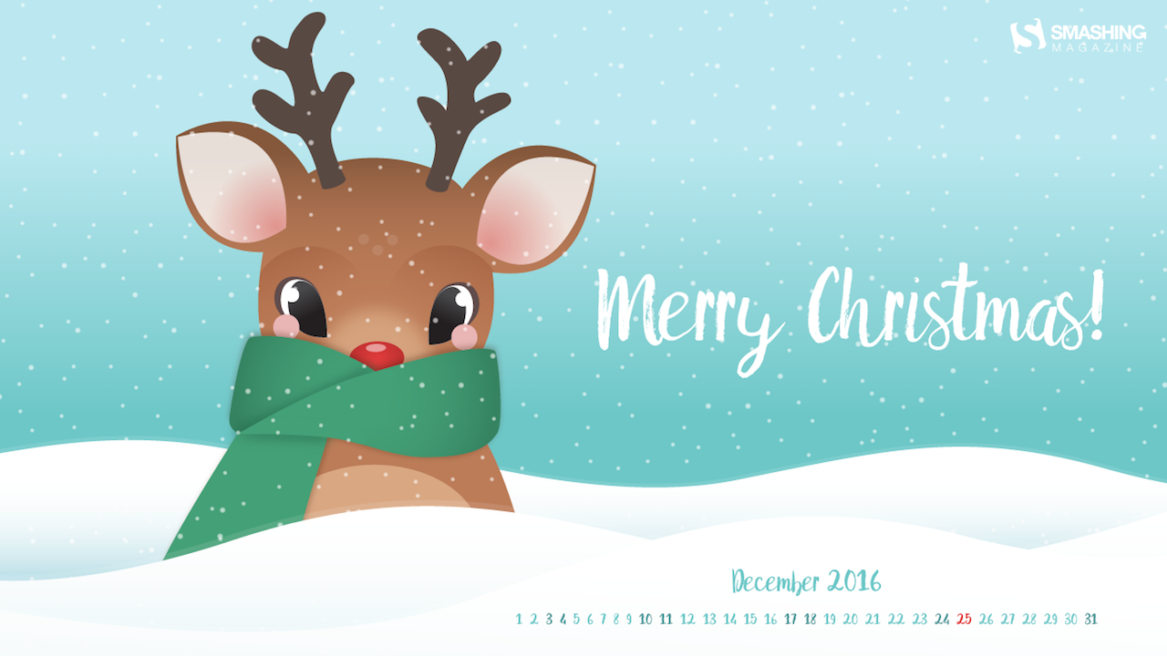 desktop wallpaper calendars: december 2016 - festive christmas