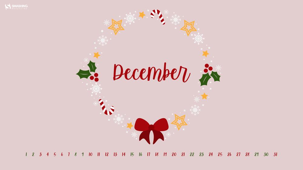 dec 18 christmas wreath full - Download Smashing Magazine Desktop Wallpaper December 2018 Windows 7/8/10 Theme